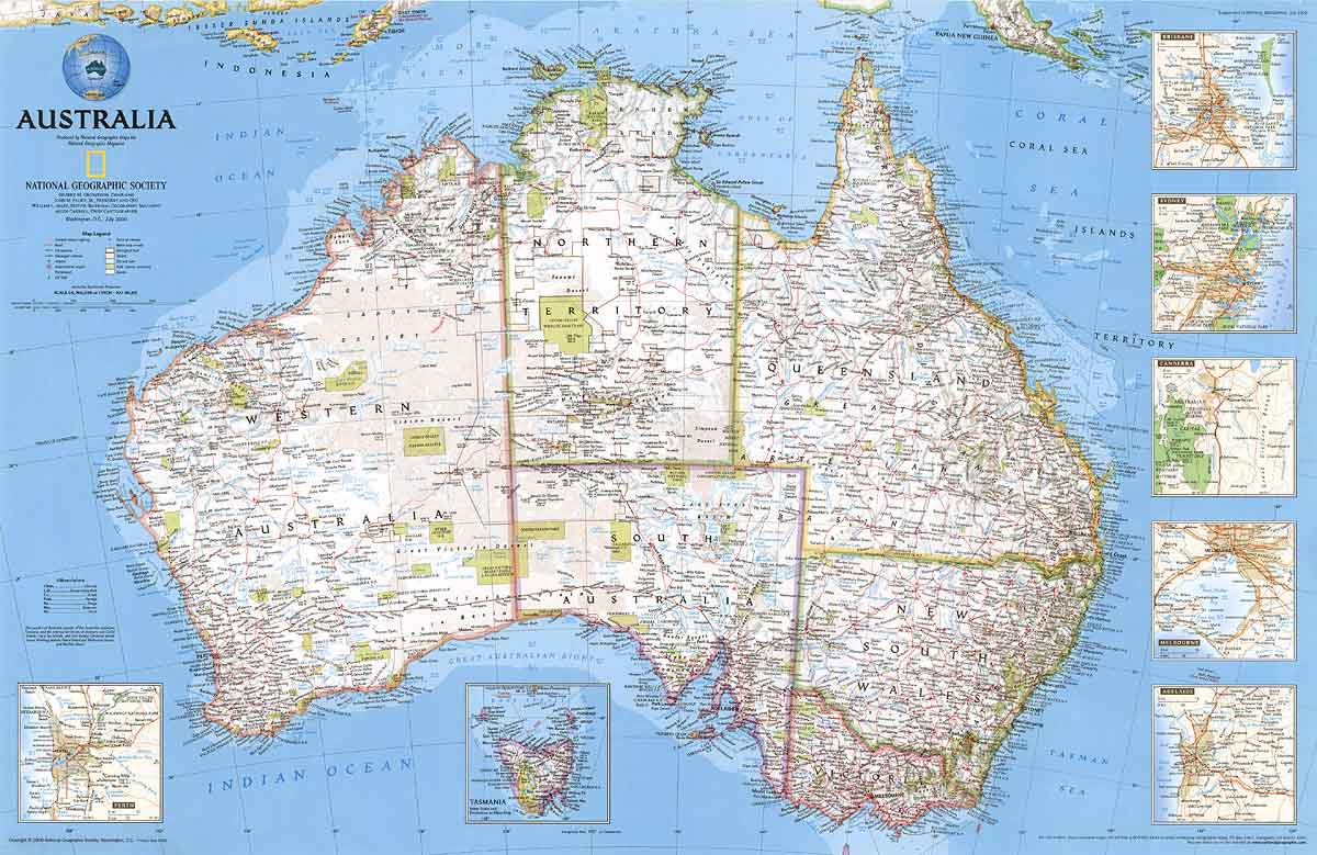 Australia Wall map laminated by National Geographic l free maps globe