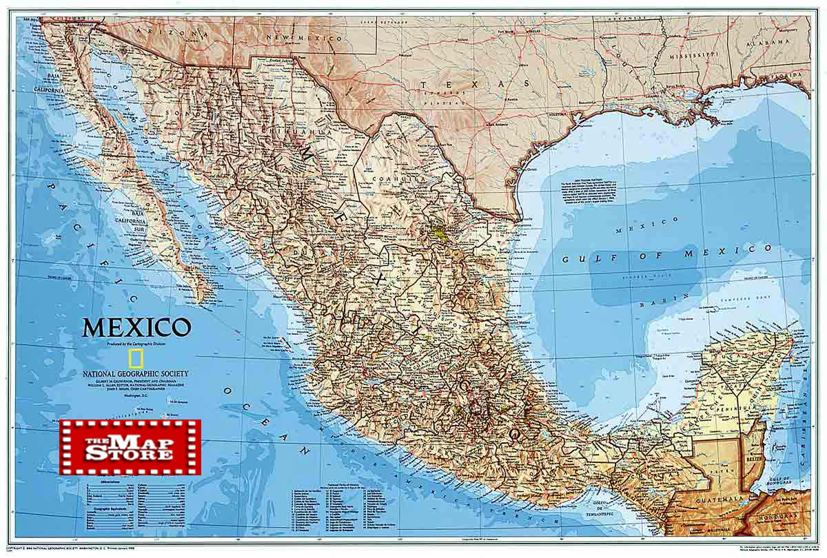 Mexico Wall map laminated by National Geographic l free maps – Topographic Map Mexico