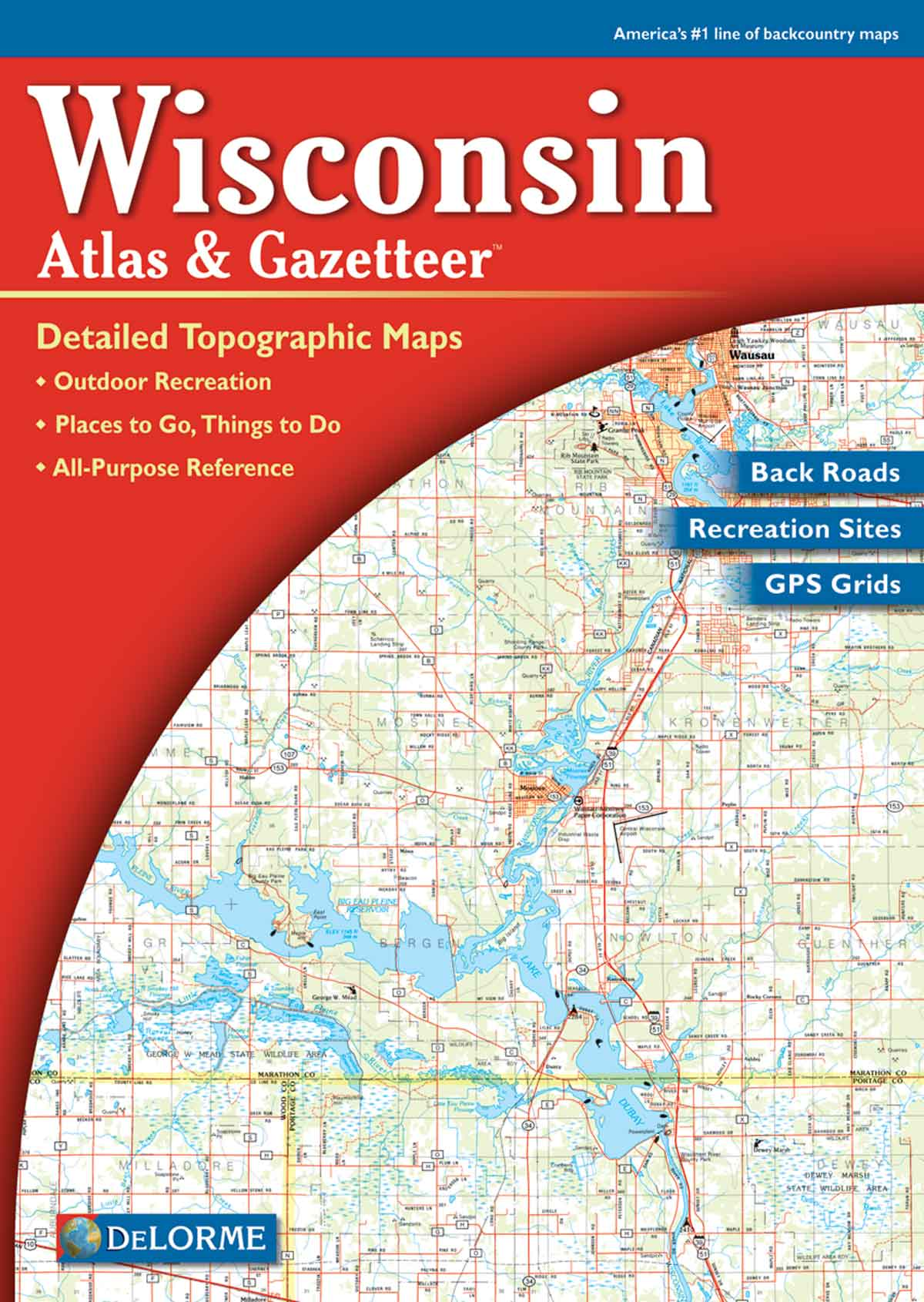 Wisconsin DeLorme Atlas Gazetteer with cover maps globe