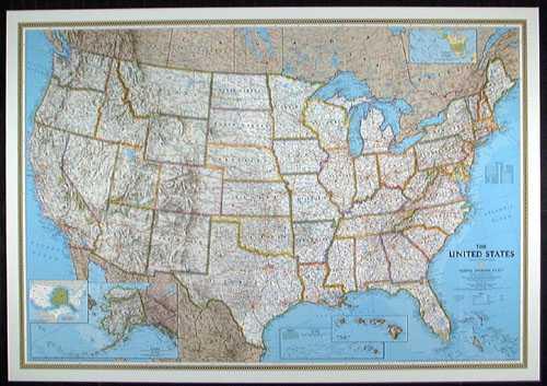 US national geographic political small map laminatedhtm free