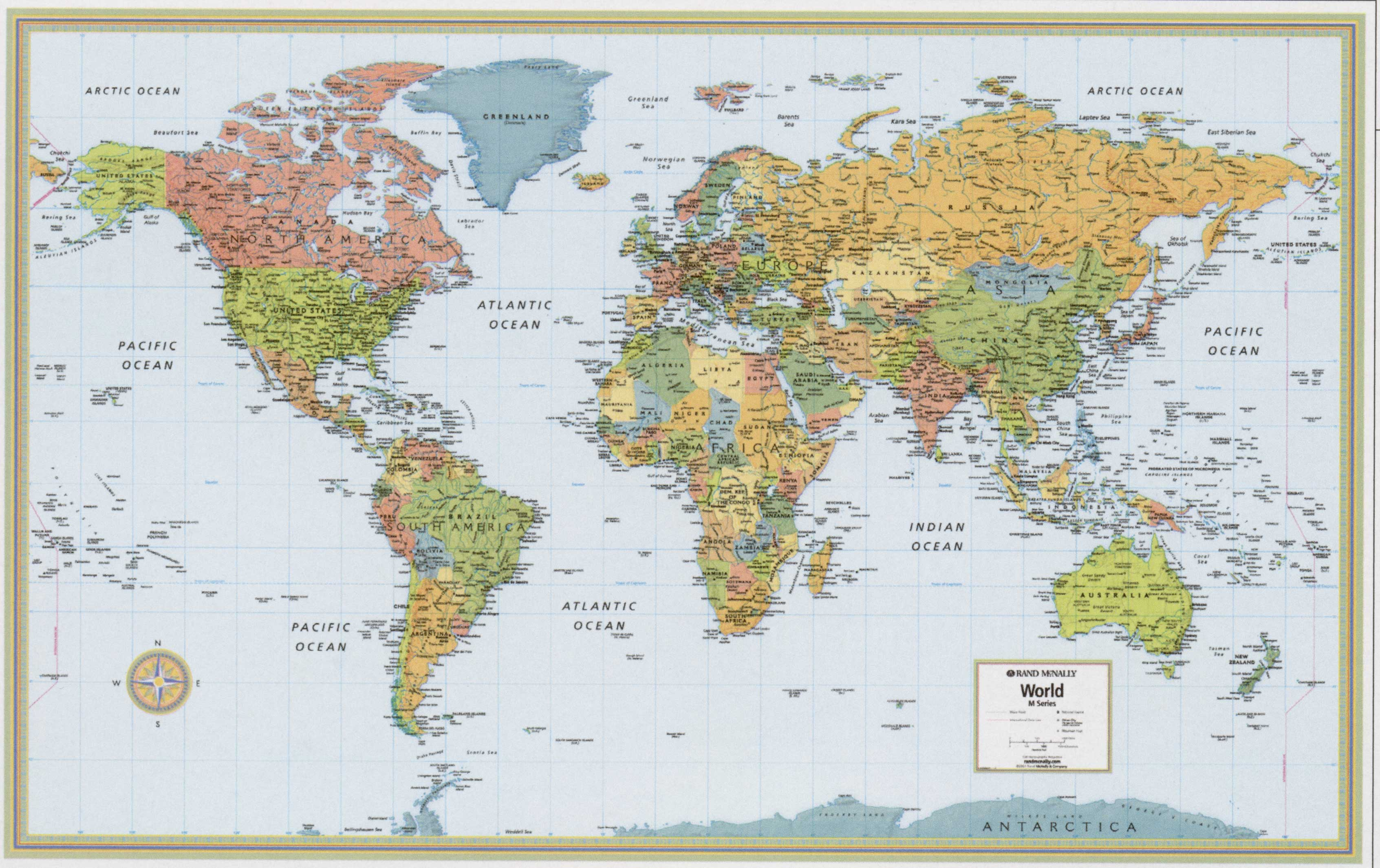 World Map Small Rand Laminated Free Maps Globe Globes Geo - Map of states us