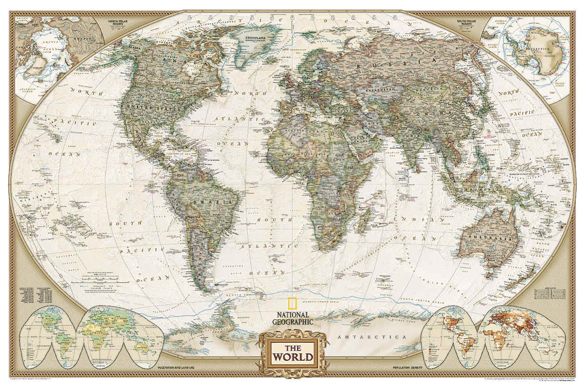 World National Geographic Executive Map Laminated Enlarged Free Maps Globe Usgs U S G S Topo Topographic Road Map Chart Nav Bwca Natgeo Na